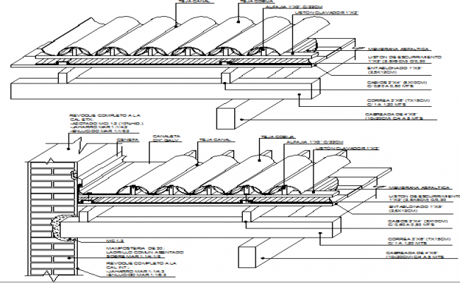 Clay Tile Details With Roof Construction Details Dwg File Roof Construction Clay Tiles Construction