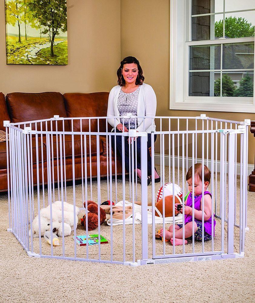 Baby Pet Dog Wide Metal Safety Gate Indoor Outdoor Child Playpen