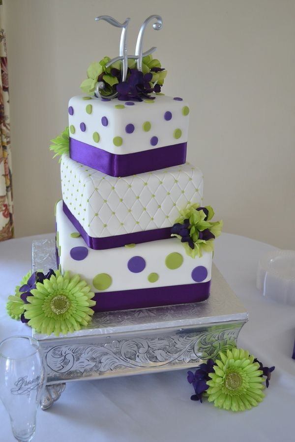 Lime Green And Dark Purple Purple Wedding Cakes Green Wedding Cake
