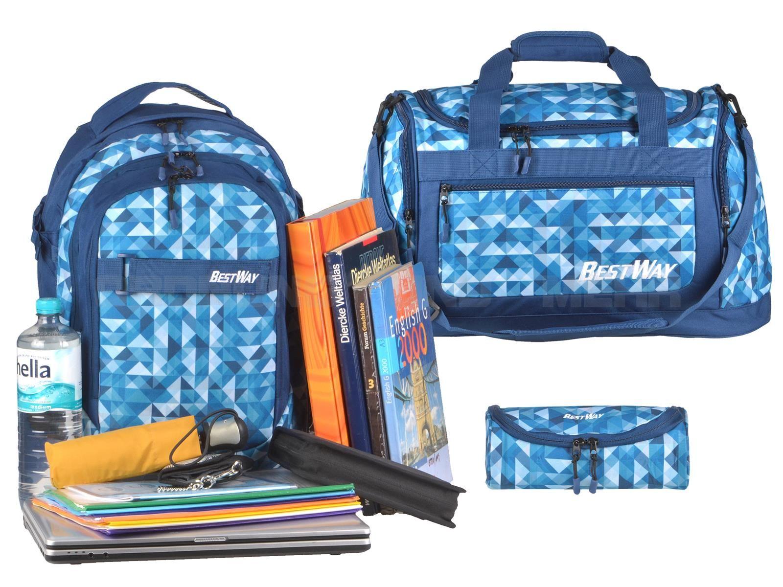 Günstiges Schulrucksack Set 3tlg blau Dreiecke BESTWAY