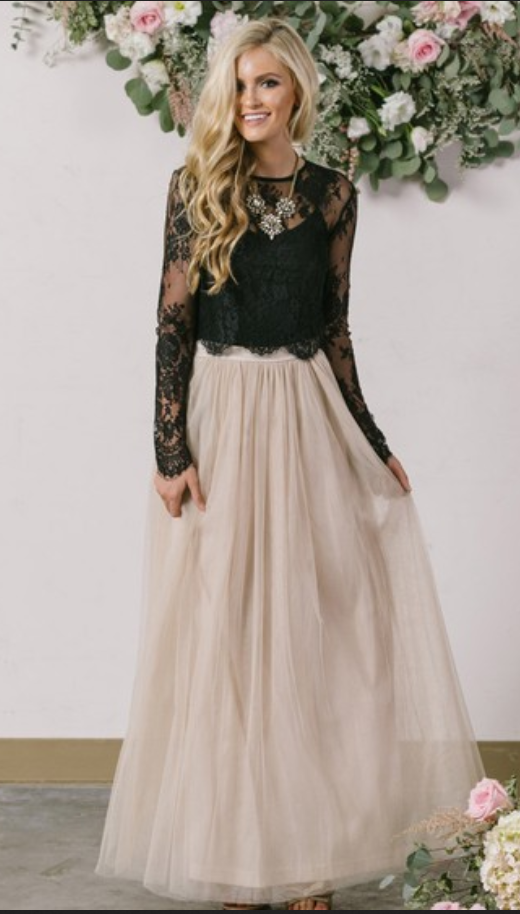 A line Scoop Long Sleeves Prom Dresses Two Pieces Party Dresses Lace ...