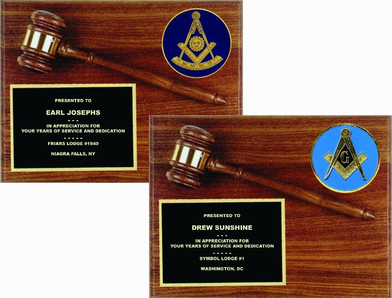 MASONIC GAVEL PLAQUE Lauterer com | Masonic Light Prince