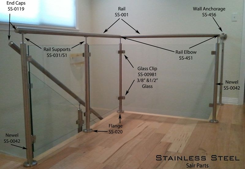 Stainless Steel Stair Parts Modern Glass Rods Cable Railing Systems Staircases Steel