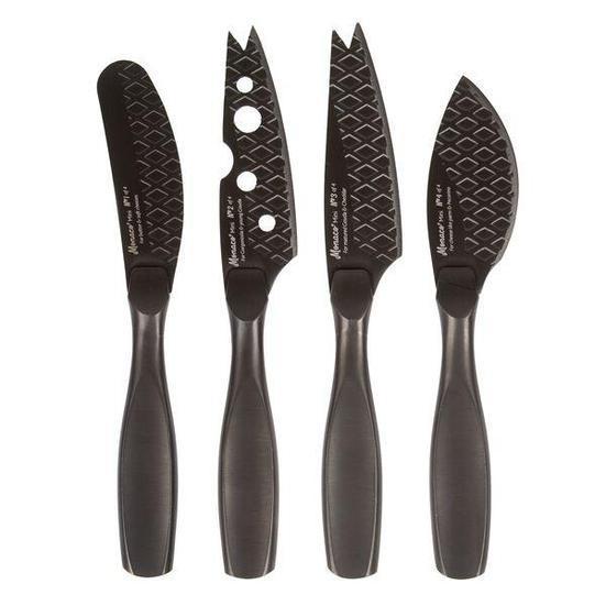 Monaco Black Mini Cheese Knife Set Cheese Knife Set Cheese Knives Knife Sets