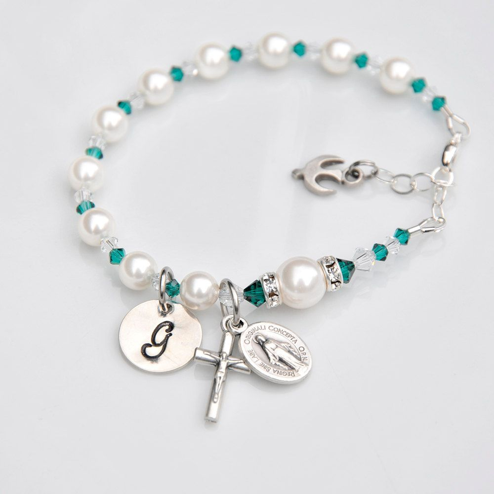 768b7f41f Emerald Green Girls Personalized Rosary Bracelet - Swarovski Crystal Pearl  - Sterling Hand Stamped Initial - Confirmation Gift for Girl by  RosariesOfLove on ...