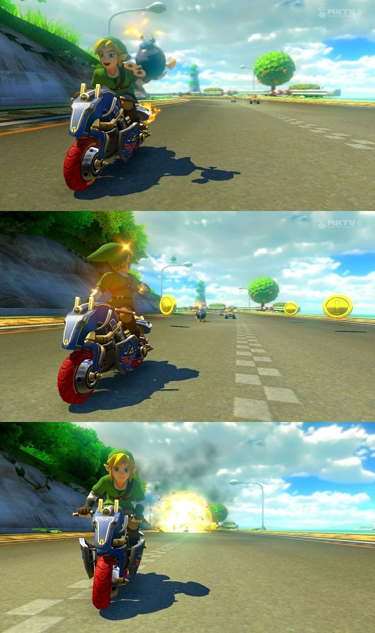 Link Already Know How To Deal With Bombs In Wiiu Mario Kart 8 Dlc He S On A Motorcycle Sweet Legend Of Zelda Mario Kart Mario Kart 8