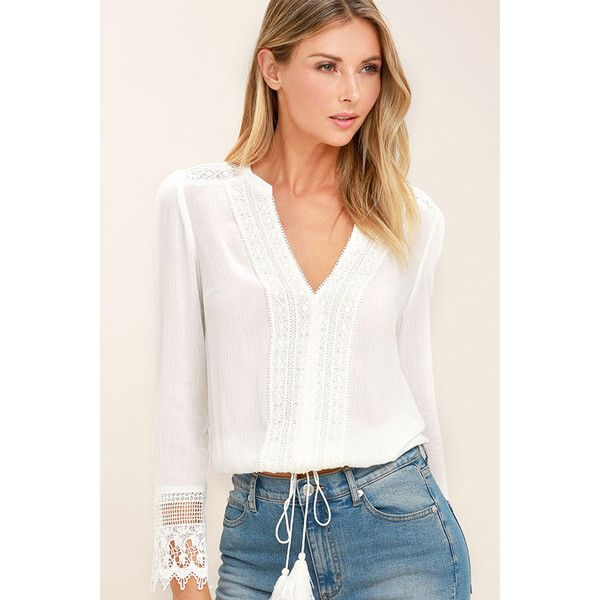 Bali Daydream White Lace Long Sleeve Top (70 CAD) ❤ liked on Polyvore featuring tops, white, lacy white top, crochet lace top, white long sleeve top, long sleeve lace top and white lace top