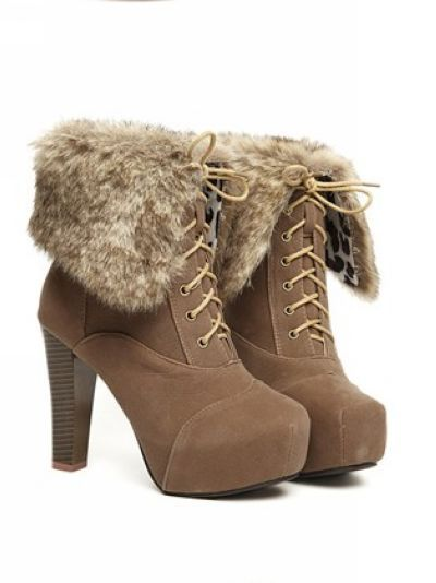 buy popular search for authentic 2019 discount sale Autumn and winter Fluffy ankle boot high heels shoes ...