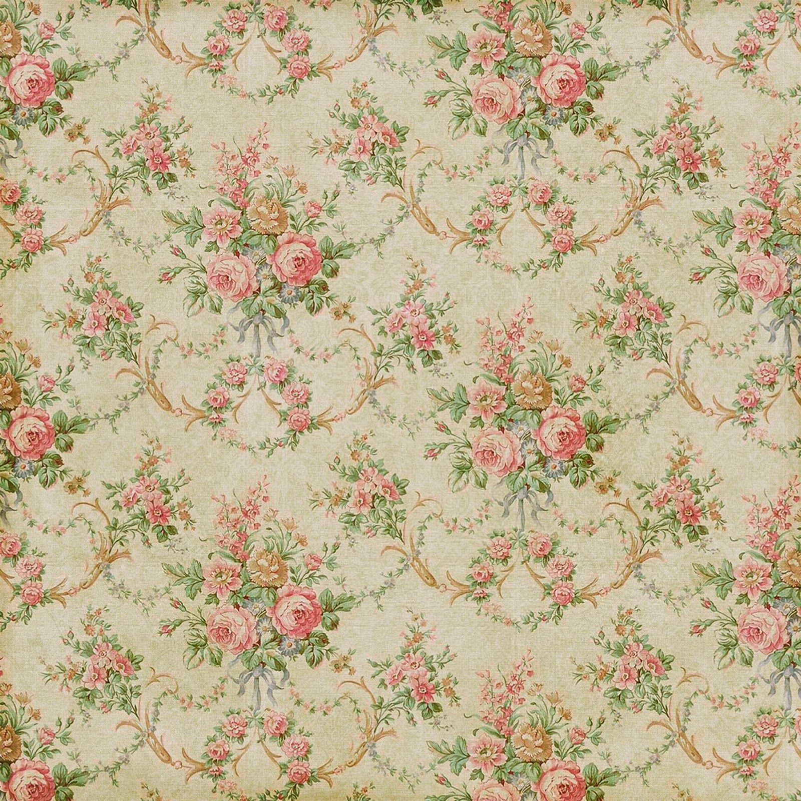 antique faded vintage wallpaper floral flower rose pink red design
