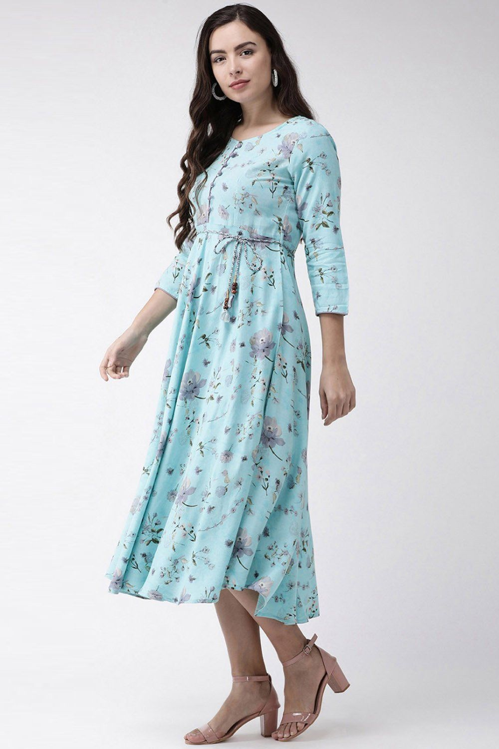 Viscose Printed Maxi Dress In Turquoise Maxi Dress Printed Maxi Dress Dresses [ 1500 x 1000 Pixel ]