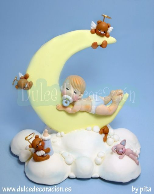Adorno de Bautizo, Bebé media luna by Dulce decoración (modelado - tartas decoradas), via Flickr