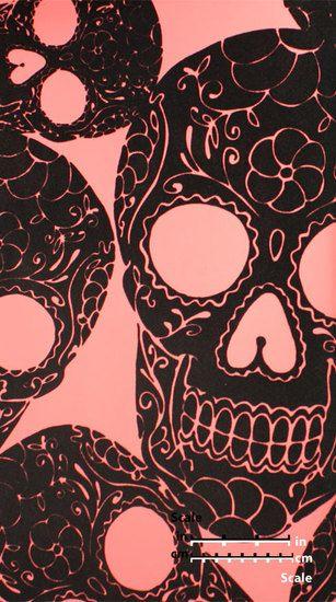 Plush Flocked Wallpaper Sugar Skulls Rose Black Velvet