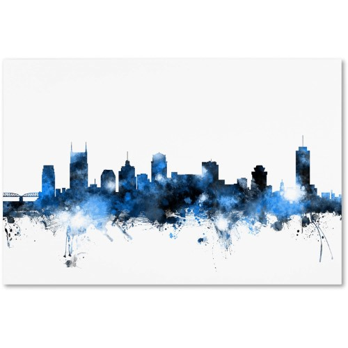 Trademark Fine Art Nashville Tennessee Skyline White Canvas Art By Michael Tompsett Blue White Canvas Art Abstract Canvas Painting Wall Art Prints