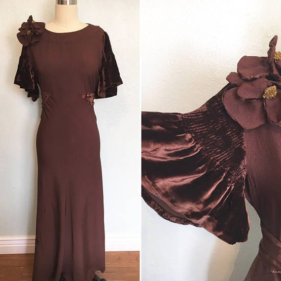 Vintage 1930s Floor Length Chocolate Brown Evening Gown 1930s