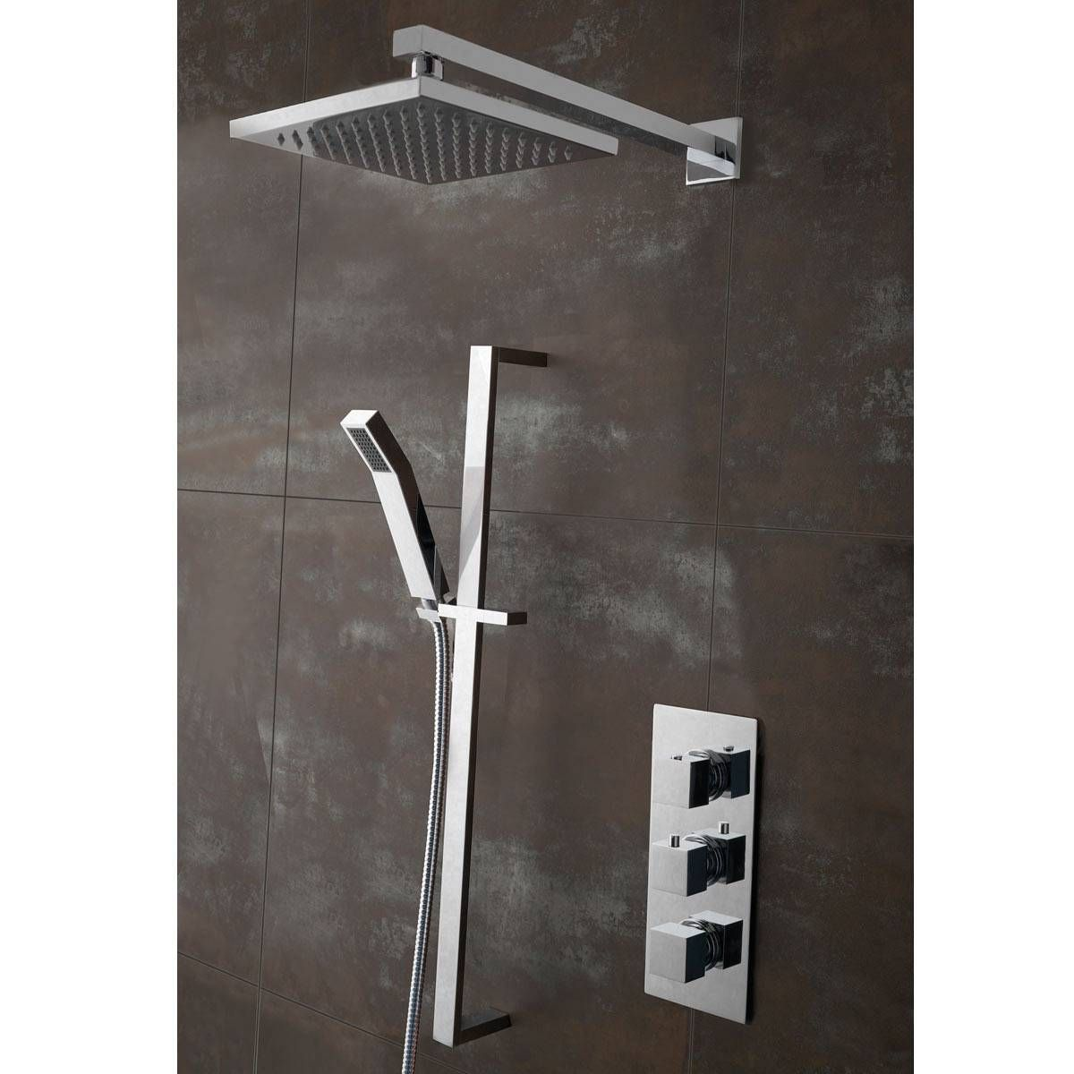 Bathroom Mirrors Victoria Plumb cubik thermostatic triple valve complete shower set - victoria