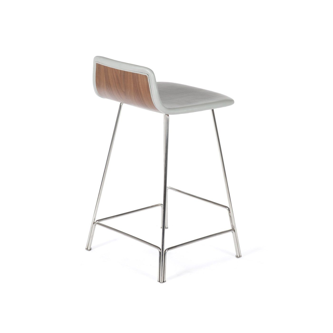 Pleasing Custom Rod Counter Stool Grey Leather And Walnut Unemploymentrelief Wooden Chair Designs For Living Room Unemploymentrelieforg