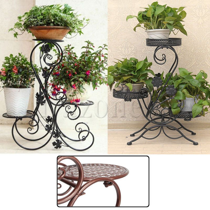 Metal Floor Standing Wrought Iron Pot Plant Stand Flower Planter 8 Style Us Sell Plant Stand Wrought Iron Plant Stands Flower Planters