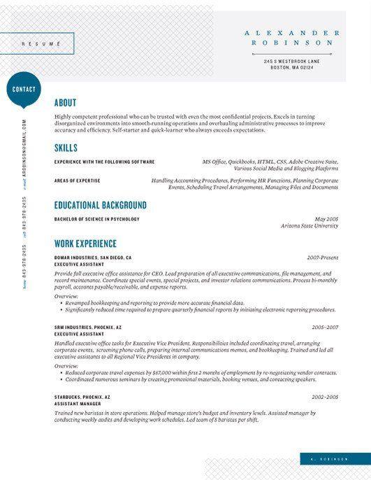 Resume Template Shearling Point Blue U2013 Loft Resumes Self   Quick Resume  Template  Quick Resume Template