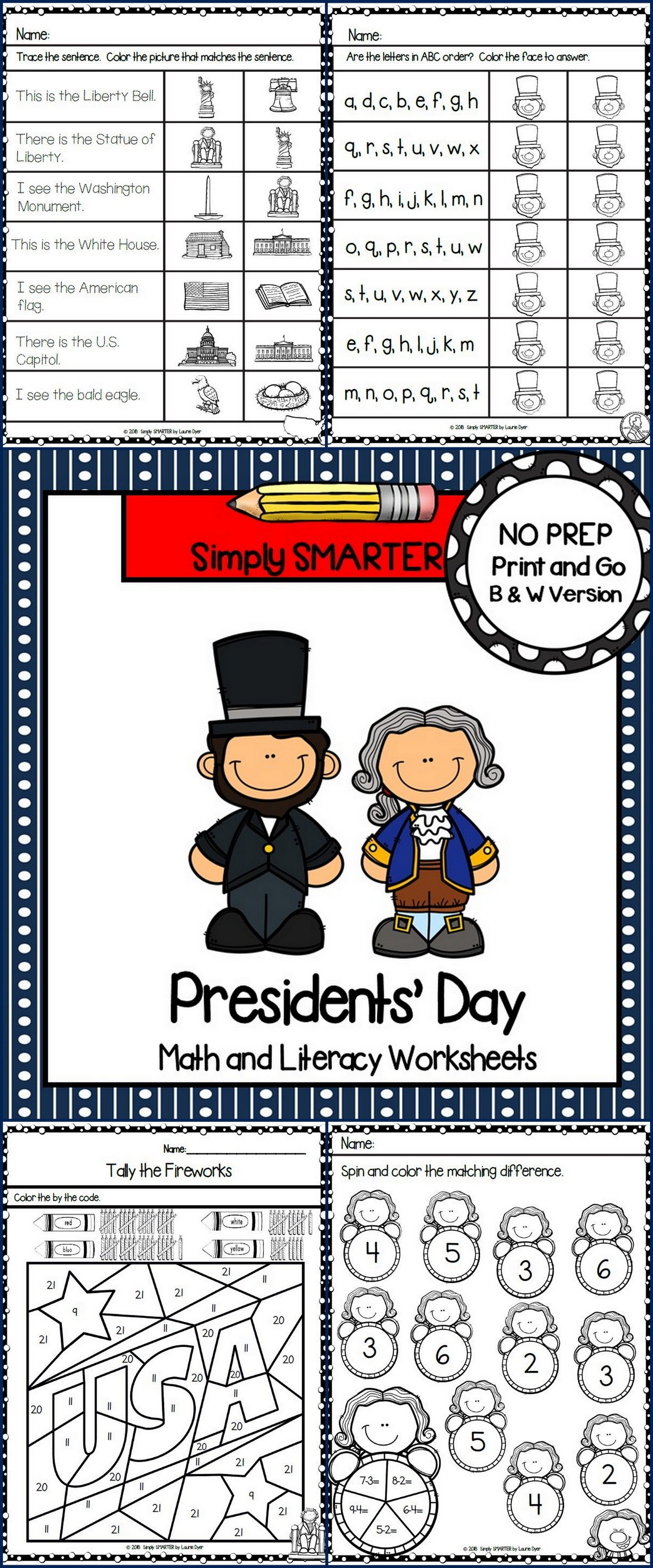 Presidents Day Math And Literacy Worksheets American Symbols