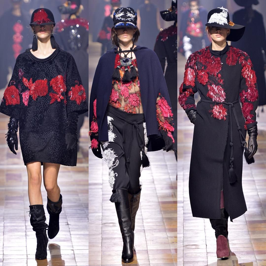 Lanvin presents couture looks of the season. A burst of festive reds and bedazzled sequins. Discover more at http://store.lanvin.com/""