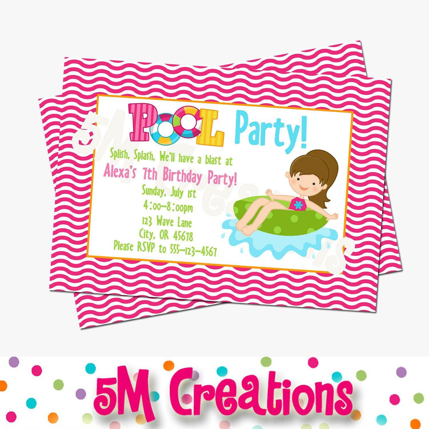 Pool Party Invitation - Pool Party Invite - Pool Party Printables ...