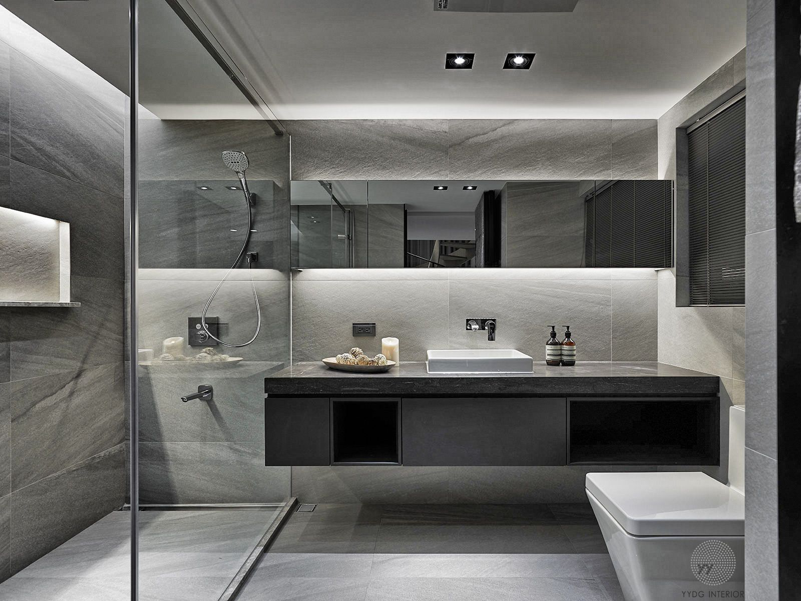 Floating Toilet And Vanity With Two Sinks And A Walk In Shower With Two Shower Heads And A Floating Be Stylish Bathroom Modern Bathroom Design Modern Bathroom
