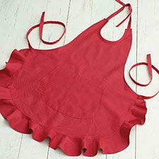 Red Ruffle Apron: Very sweet and retro in heavy 100% cotton with an extra large front pocket and an adjustable neck. Machine wash and dry.