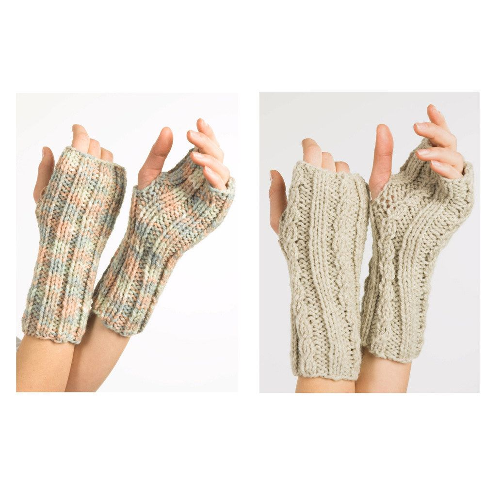 Fingerless Gloves in Plymouth Encore Chunky - F237. Discover more ...