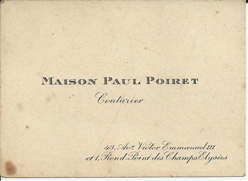 Maison Paul Poiret Carte De Visite