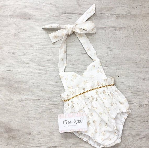 Baby girl romper baby girl clothes baby romper photography prop baby bodysuit white gold Baby girl romper baby girl clothes baby romper photography prop baby bodysuit whi...