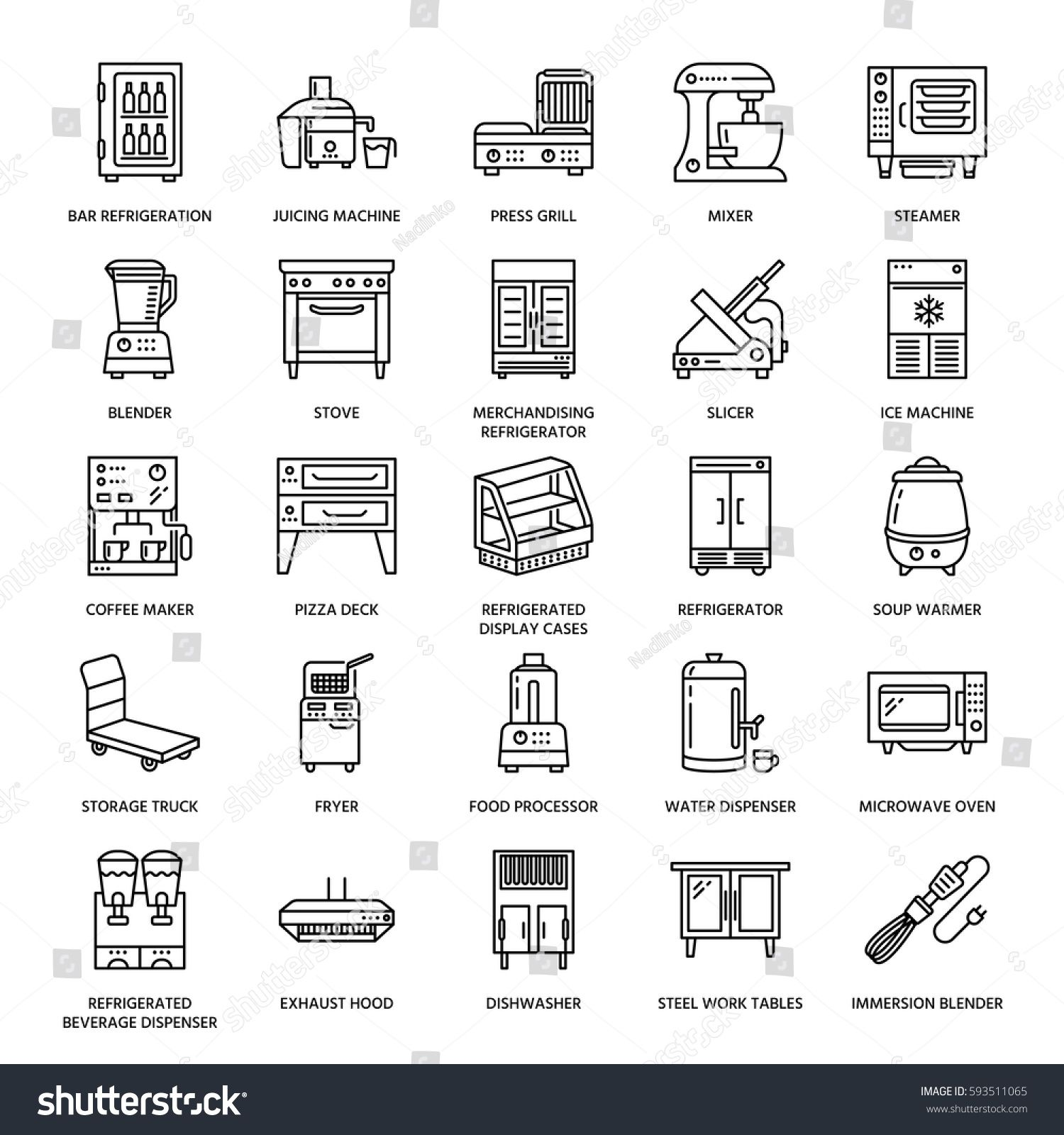 Restaurant Professional Equipment Line Icons Kitchen Tools Mixer