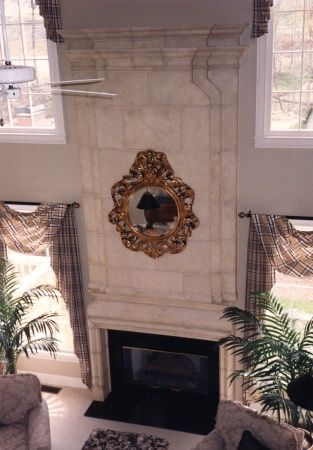 Faux limestone fireplace surround for the outdoor fireplace ...
