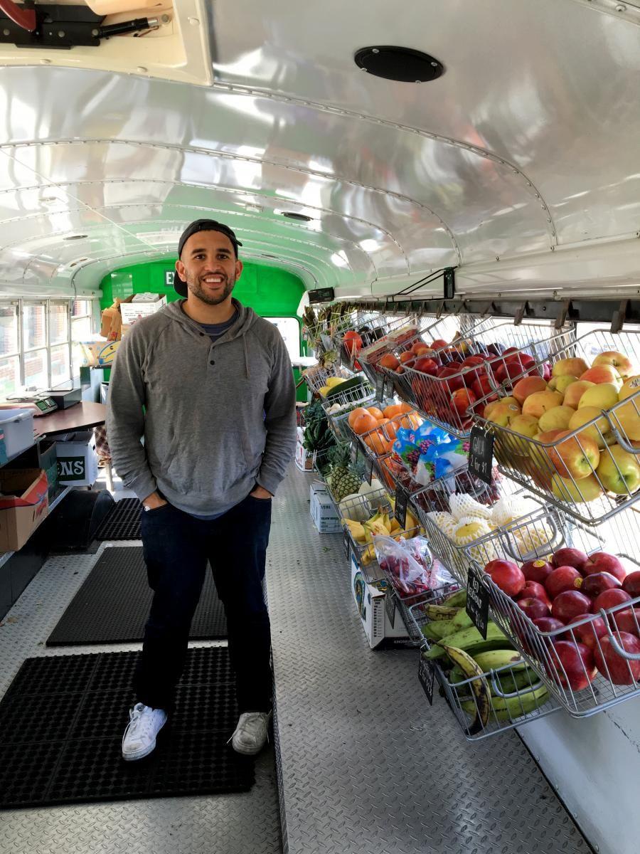 Cofounder Josh Trautwein shows off Fresh Truck, a mobile