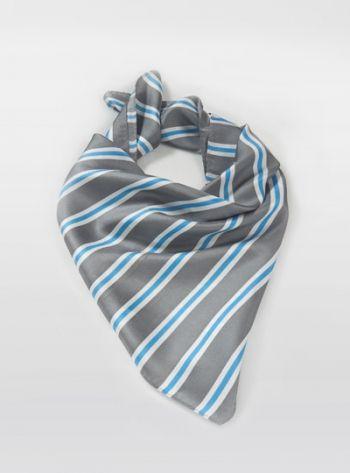 Halstuch Streifenmuster silbergrau türkisblau