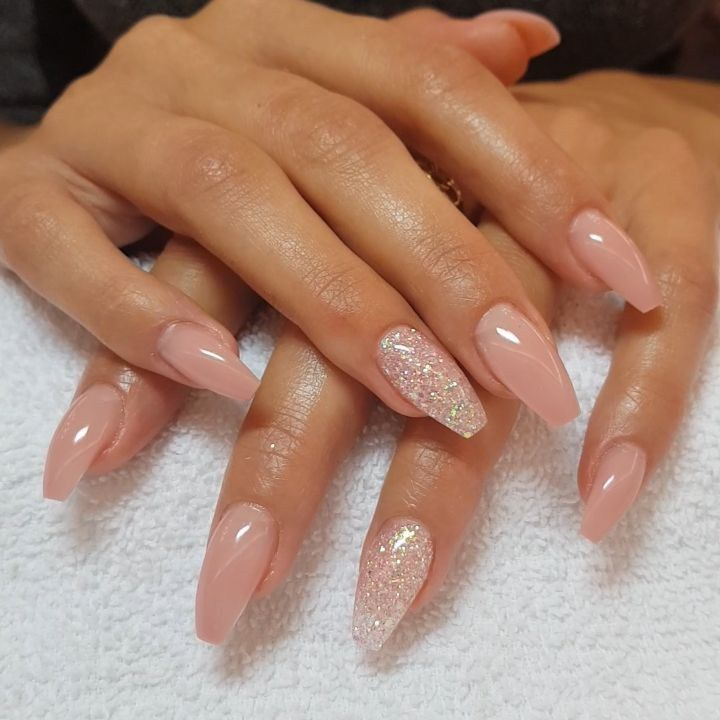 Soft Peachy Nude and Glitter on Coffin Nails 1 | Top Ideas To Try ...