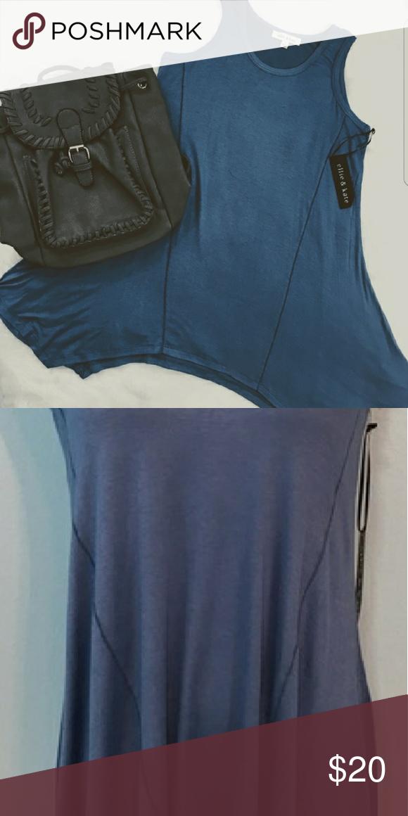Ellie and Kate, Blue Shark Hem Tank Tunic Dress