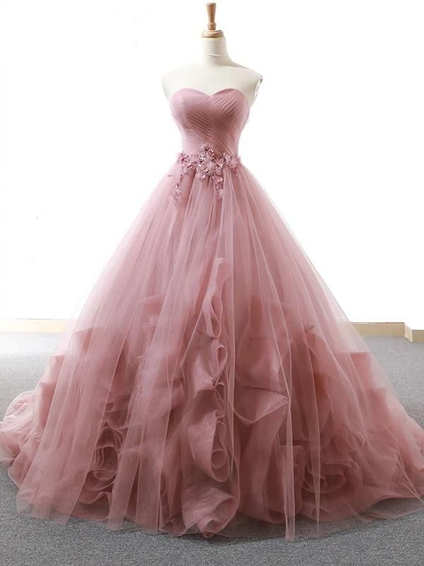 Ball Gown Sweetheart Appliques Blush Prom Dress Tulle Long Prom Evening Dress CAP51236