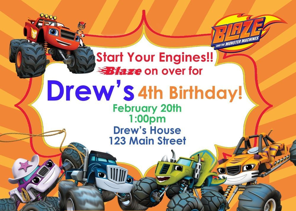 Details About Blaze And The Monster Machines, Invitations