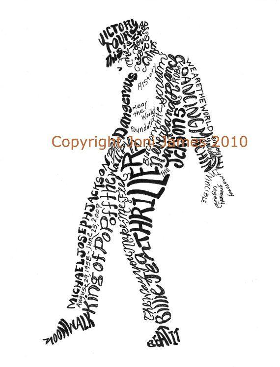 Michael Jackson Typography Word Art Calligram by Joni James ...