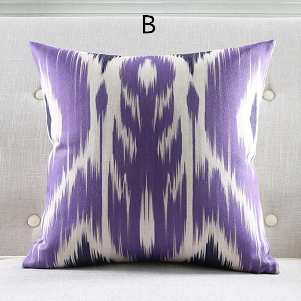 Romantic Purple Decorative Throw Pillows Linen Geometric Sofa - Purple decorative bedroom pillows