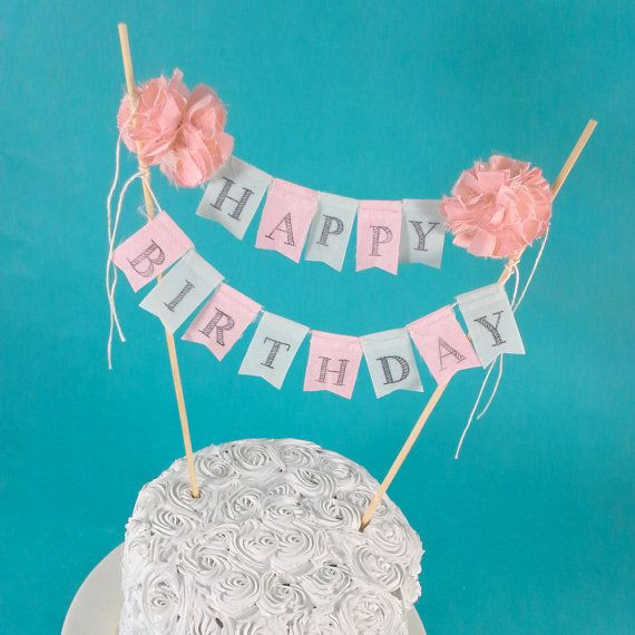Shabby Chic Cake Bunting Coral Mint Happy By Hartranftdesign