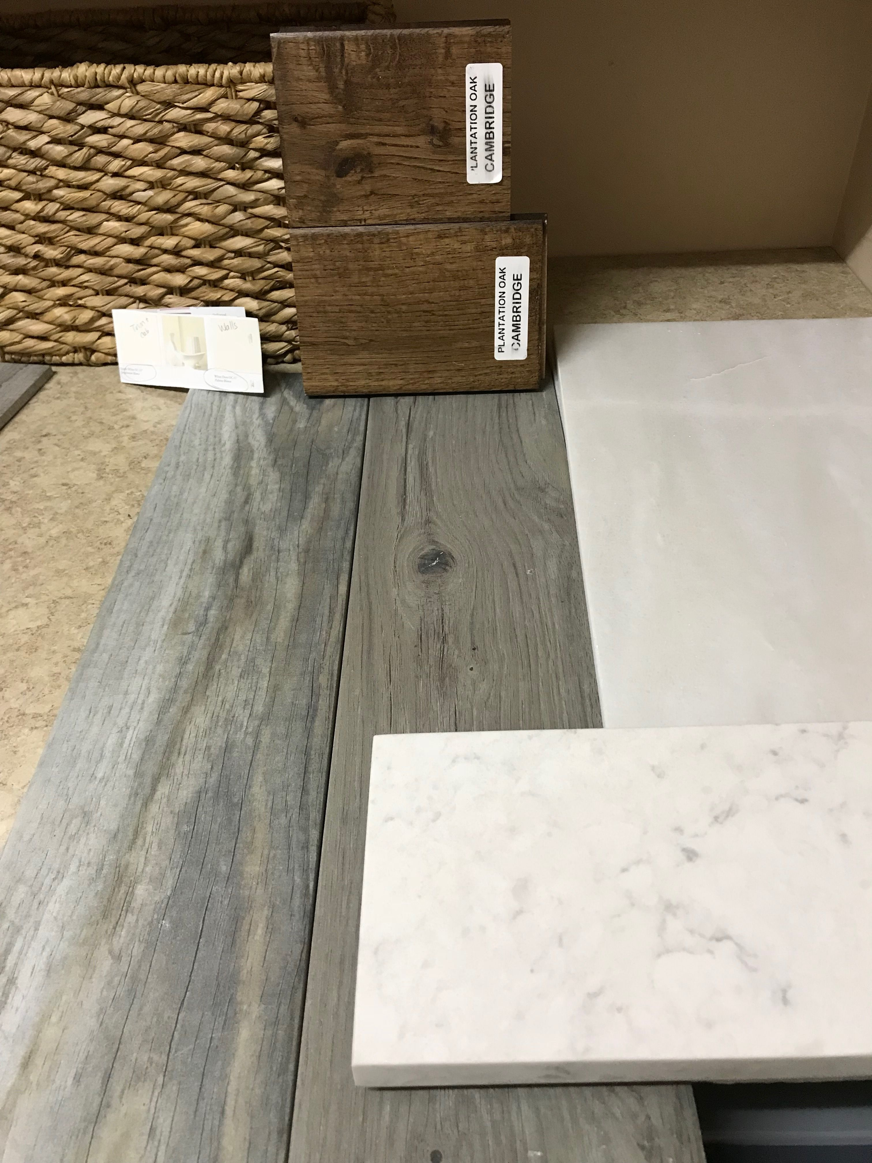 Master Bath Grey Wood Look Porcelain Tile Hickory Stained Driftwood Vanities Minuet Quartz Vanity Counters Carra Grey Wood Tile Wood Tile Wood Tile Shower