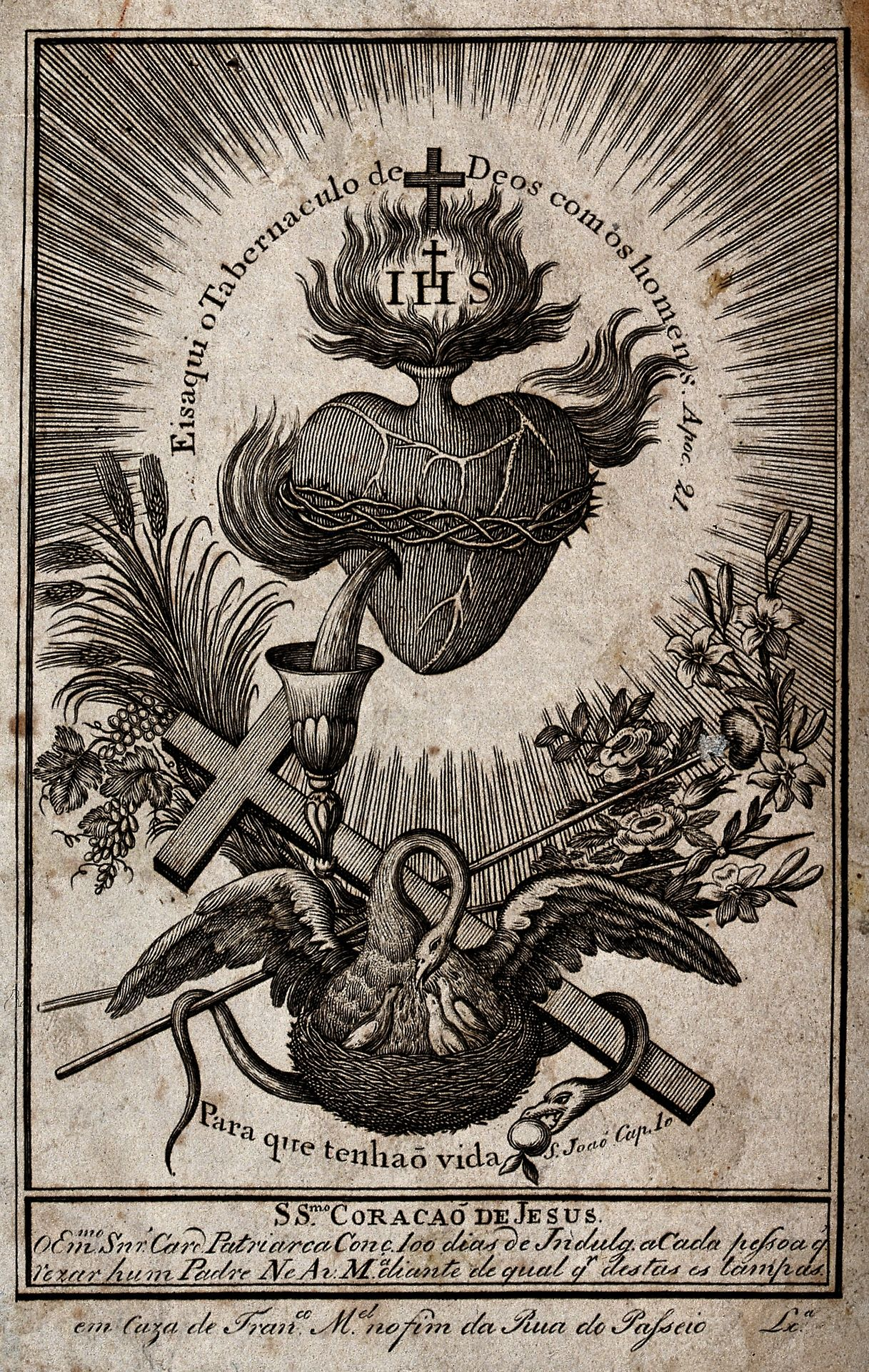 Sacred Heart Illustration Featuring The Symbolism Of The Pelican
