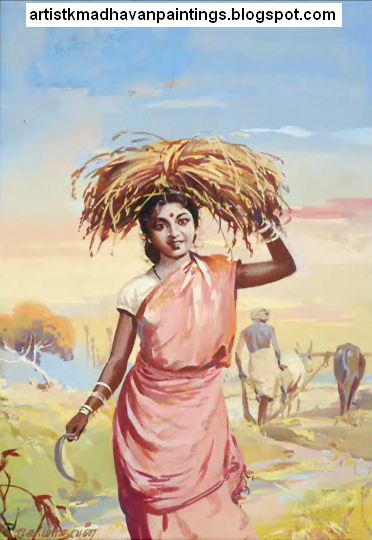 Artist K.Madhavan's Amazing Paintings - Part-01 - Great opportunity to see the Master paintings,His Pongal Greetings and the Illust...