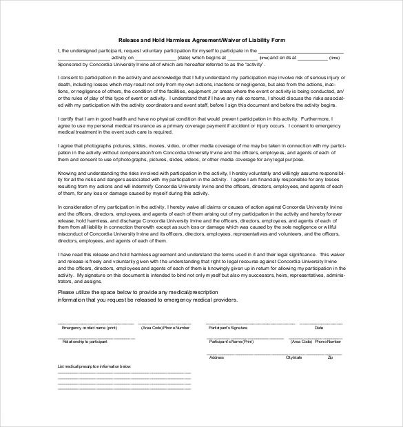 Hold Harmless Agreement Template 14 Free Word Pdf Document