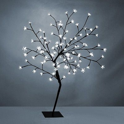 100cm White Led Cherry Blossom Bonsai Tree Fairy Lights Twig Lights Floor Lamp Twig Lights Tree Floor Lamp Cherry Blossom Bonsai Tree