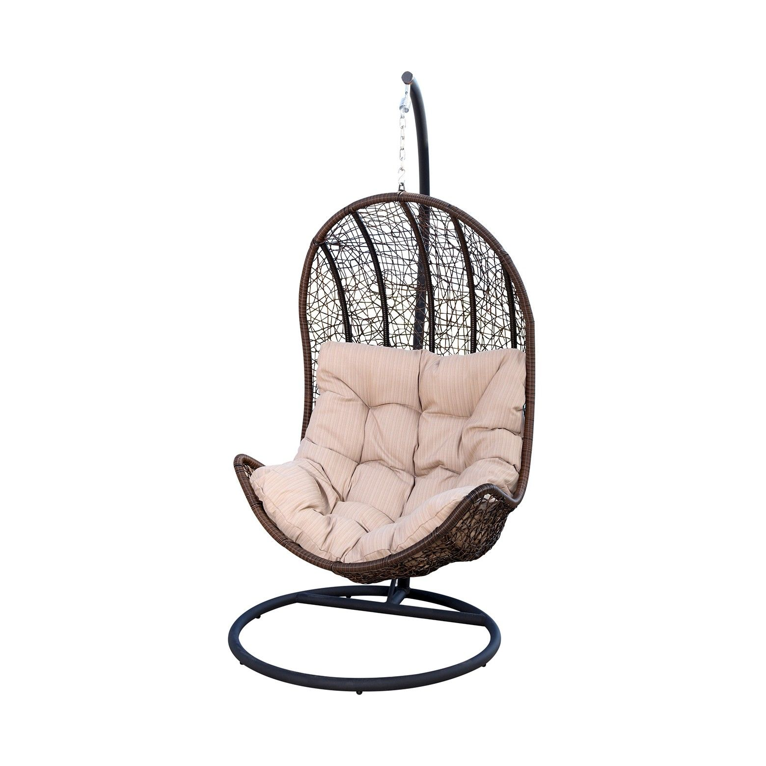 Newport Outdoor Wicker Egg Shaped Swing Chair Brown