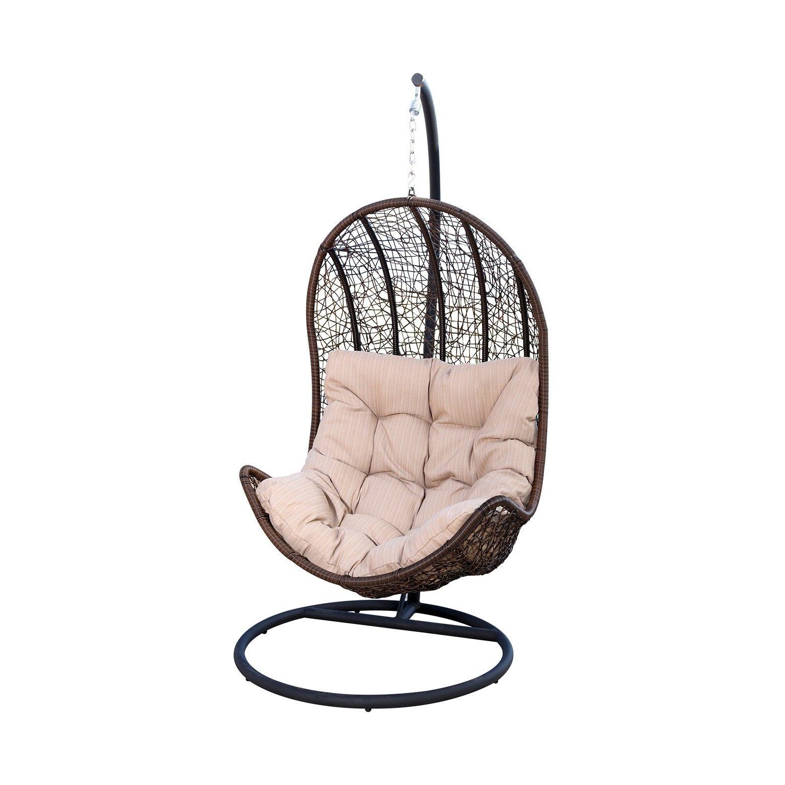 Newport Outdoor Wicker Egg Shaped Swing Chair Brown