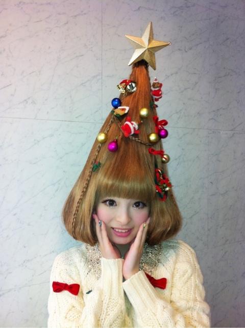 A Very Kyary Xmas Christmas Tree Hair Holiday Hairstyles Christmas Hairstyles