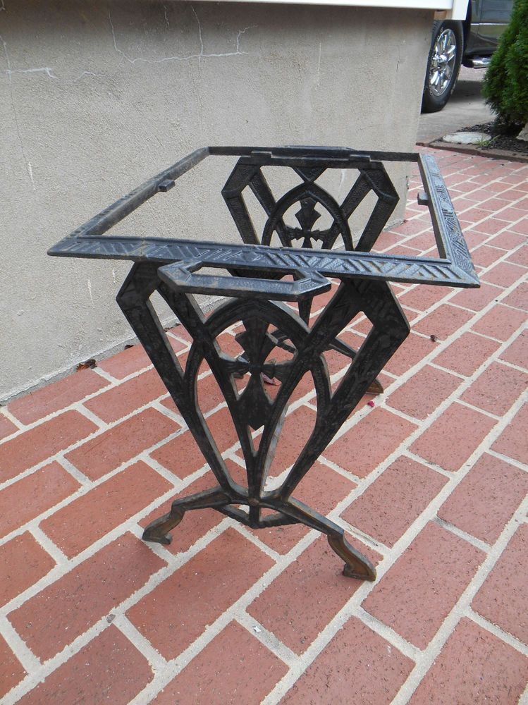 Antique Vtg Cast Iron Art Deco Table Base Legs Ornate Industrial Machine Age
